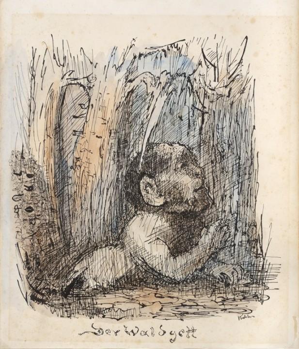 Alfred Kubin - Lesní bůh, 1933
